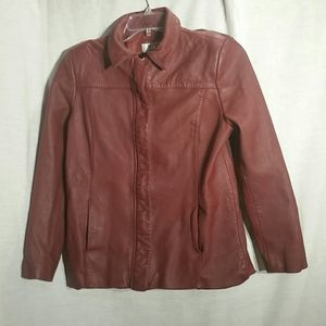 Alfani Petite large woman's leather jacket.